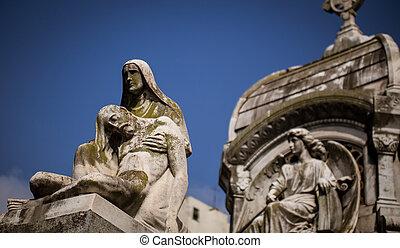 ангел, держа, , человек, статуя