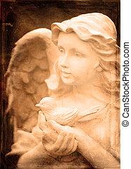 ангел, статуя, держа, птица
