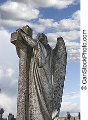 ангел, статуя, embracing, , пересекать