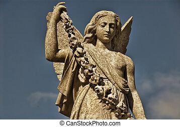 ангел, статуя, with, гирлянда
