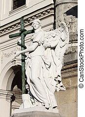 ангел, статуя, with, пересекать