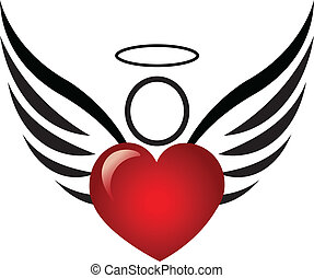 ангел, and, сердце, логотип