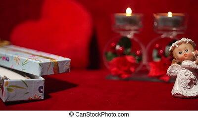 ангел, valentine's, свечи, подарок, 4k, день