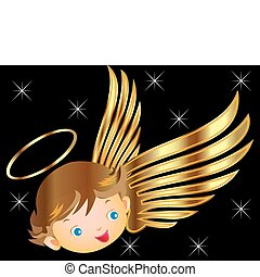 ангел, with, золото, wings