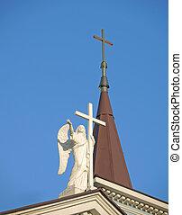 ангел, with, , пересекать, на, , крыша, of, , церковь