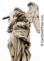 ангел, with, , cross., ponte, sant'angelo, aelian, мост