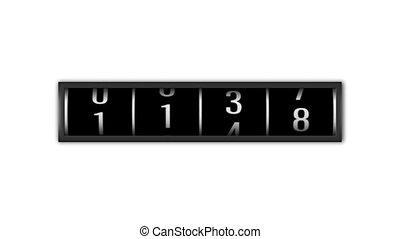анимация, loopable, одометр, чисел, задний план, белый, counting