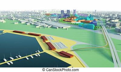 антенна, посмотреть, of, море, город, модель