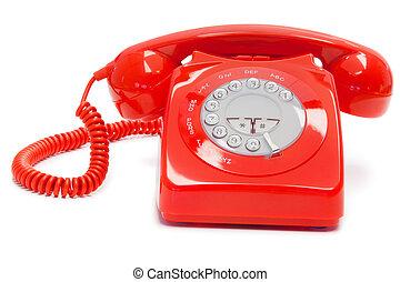 античный, красный, телефон