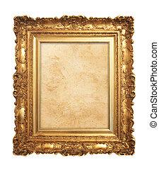 античный, рамка, старый, золото