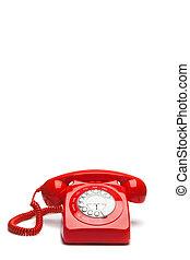 античный, телефон, красный