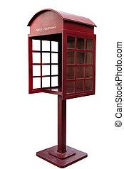 античный, телефон, стенд, красный
