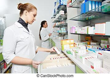 аптека, химик, женщины, в, аптека