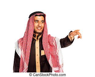 арабский, человек, прессование, виртуальный, кнопка, на, белый