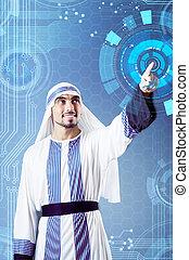 арабский, человек, прессование, виртуальный, buttons, в, футуристический, концепция