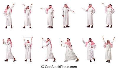 арабский, человек, прессование, виртуальный, buttons