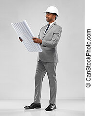 архитектор, план, шлем, индийский, мужской