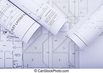 архитектор, rolls, and, plans