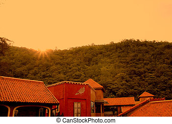 архитектура, итальянский, стиль, в, закат солнца, гора, задний план