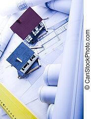 архитектура, план, &, главная