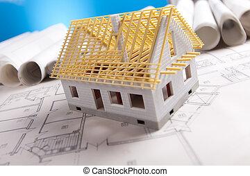 архитектура, план, &, инструменты