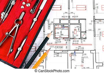 архитектура, план, and, инструменты