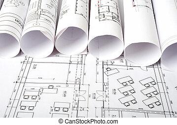 архитектура, план, and, rolls, of, blueprints