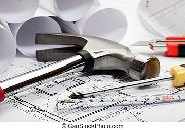архитектура, blueprints, селективный, фокус