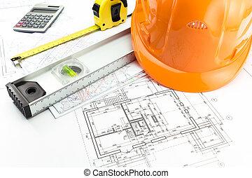 архитектурный, blueprints, and, работа, инструмент