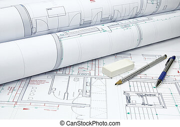 архитектурный, plans, and, инструменты