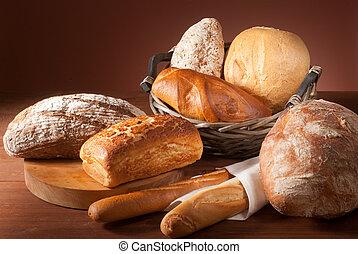 ассортимент, of, запеченный, хлеб