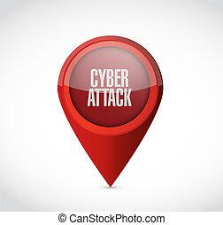 атака, концепция, указатель, cyber, знак