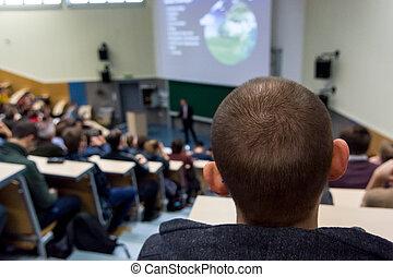 аудитория, в, наука, conference.