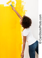 африканец, американская, женщина, растягивание, в виде, она, краски