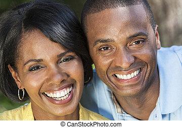 африканец, американская, женщина, &, человек, пара