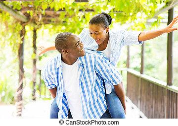 африканец, американская, пара, комбинированный