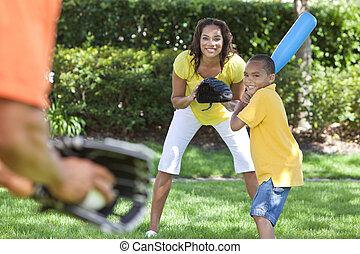 африканец, американская, семья, playing, бейсбол