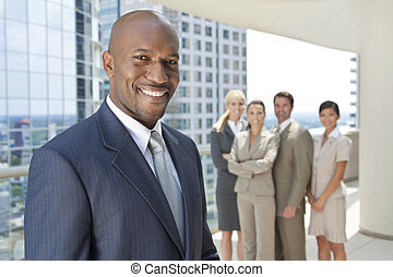 африканец, американская, человек, бизнесмен, &, бизнес, команда