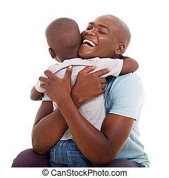 африканец, американская, человек, в обнимку, his, сын