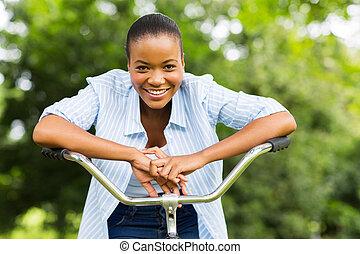 африканец, девушка, на, байк