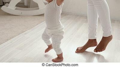 африканец, милый, босиком, learning, девушка, ходить, детка...