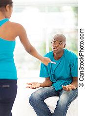 африканец, пара, having, аргумент, беременность