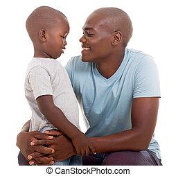 африканец, человек, talking, к, his, сын
