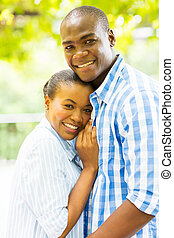 афро, американская, пара, на открытом воздухе