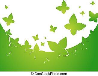 бабочка, абстрактные, зеленый, рамка