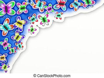 бабочка, акварель, окрашенный, рука, украшение, граница