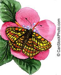 бабочка, акварель, цветок