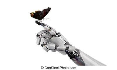 бабочка, белый, робот, задний план, рука