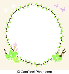 бабочка, растение, привлечь, иллюстрация, цветочный, круг, граница