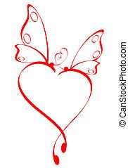 бабочка, сердце